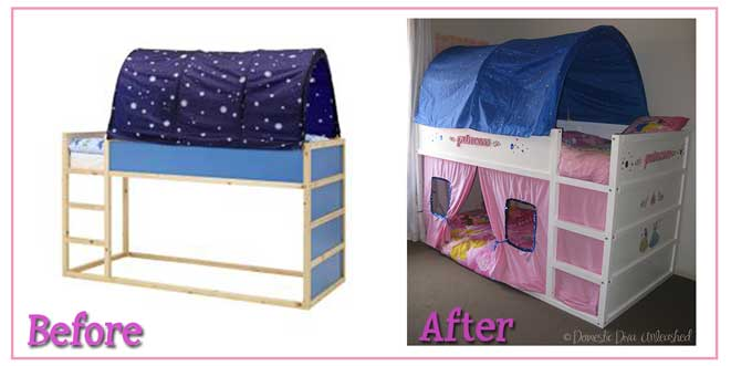 Princess Ikea Kura Bed Makeover Domestic Diva Unleashed